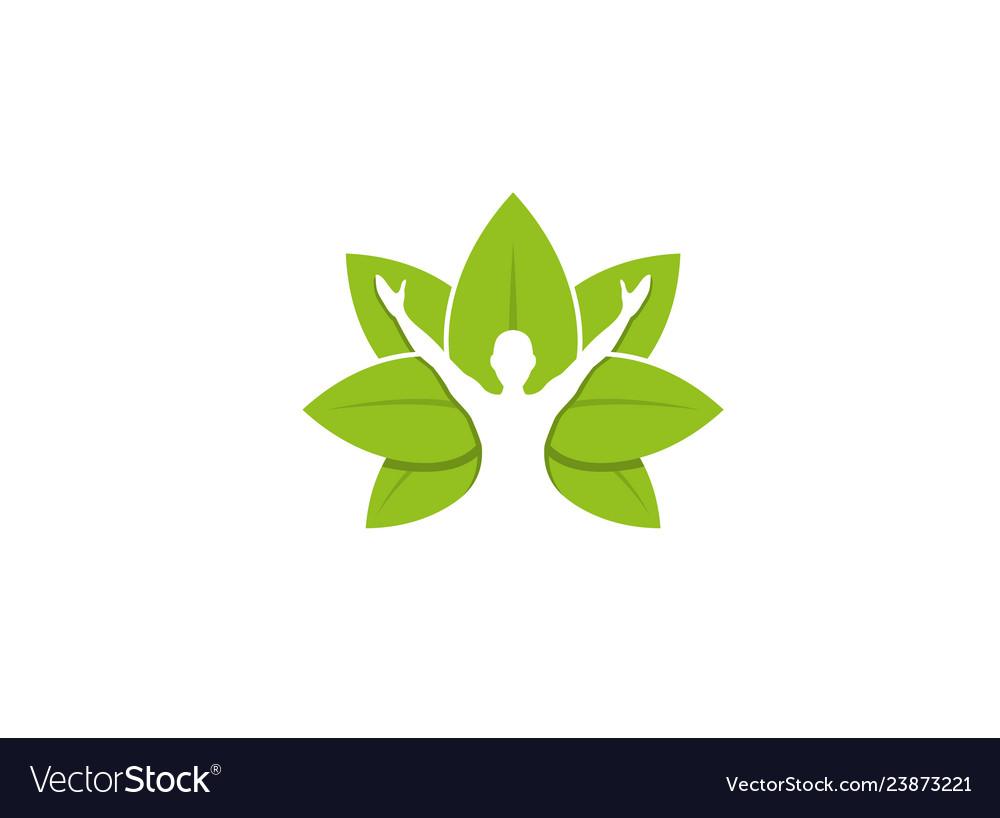 Healing body leaves logo design