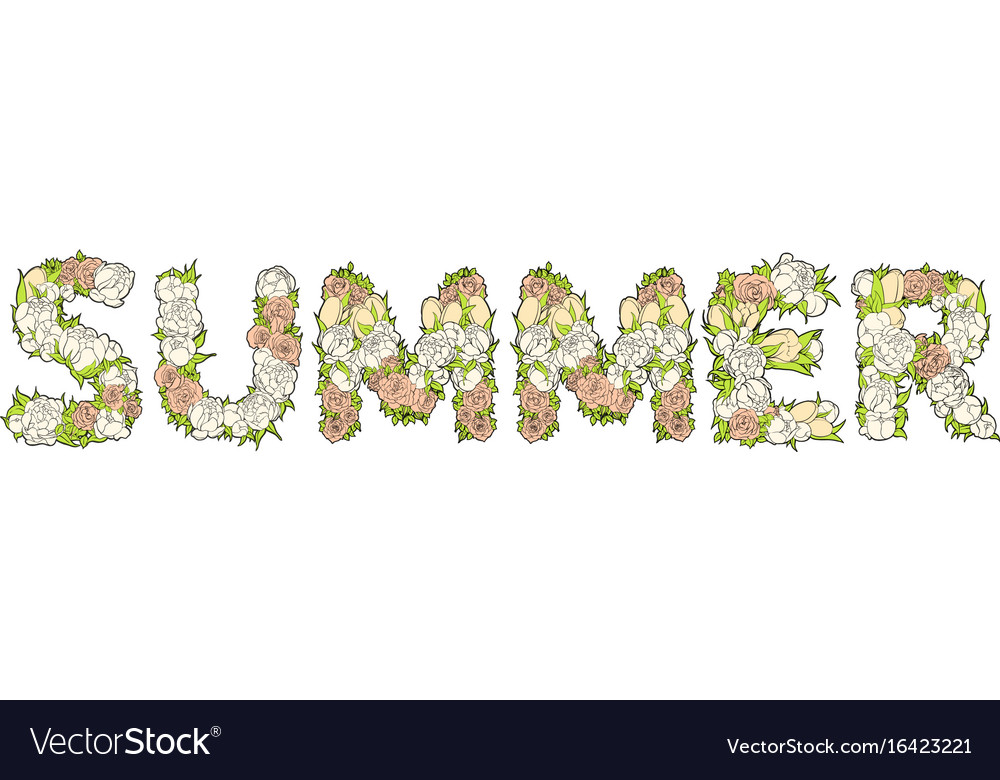 Inscription summer from flowers