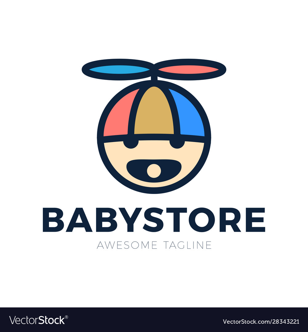 Logo babys head in a hat with a propeller and a