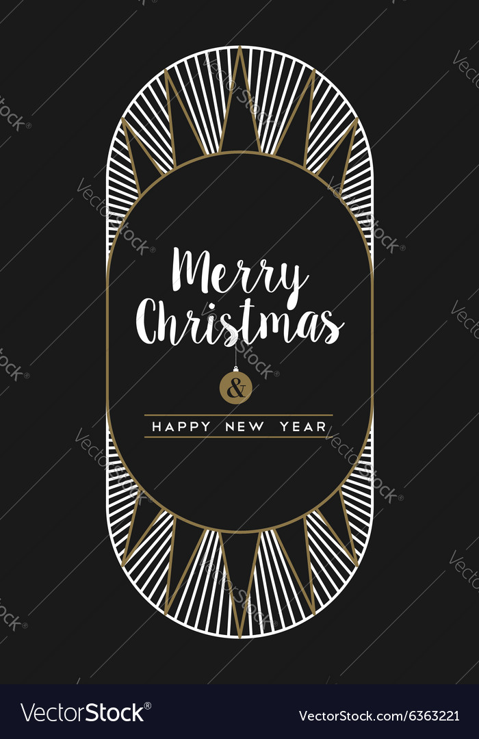 merry christmas happy new year art deco frame card vector image