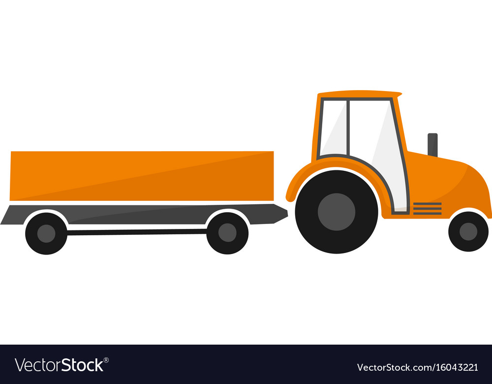 Orange tractor with a trailer agricultural