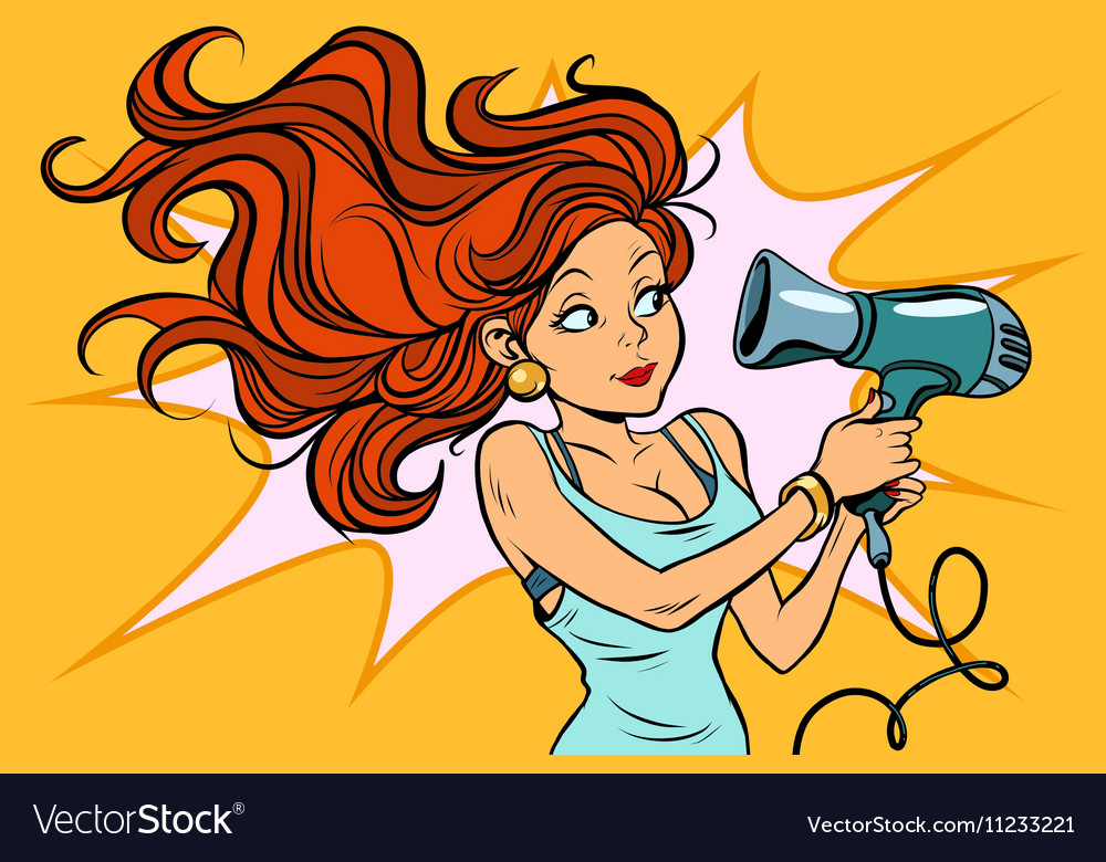 Redhead comics woman dries the hair dryer vector image