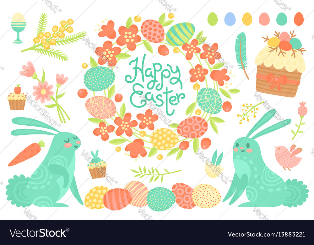Set of festive decorations for happy easter