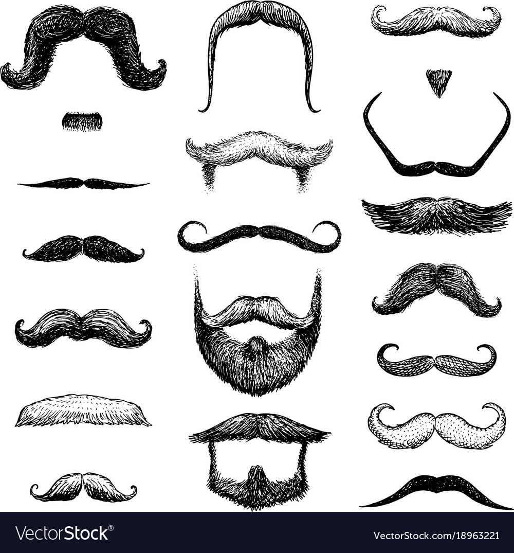 Set of mustache and funny beard of men hipster