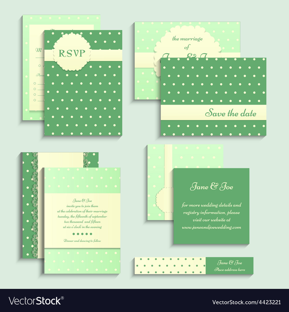 Set of vintage style wedding cards Wedding vector image