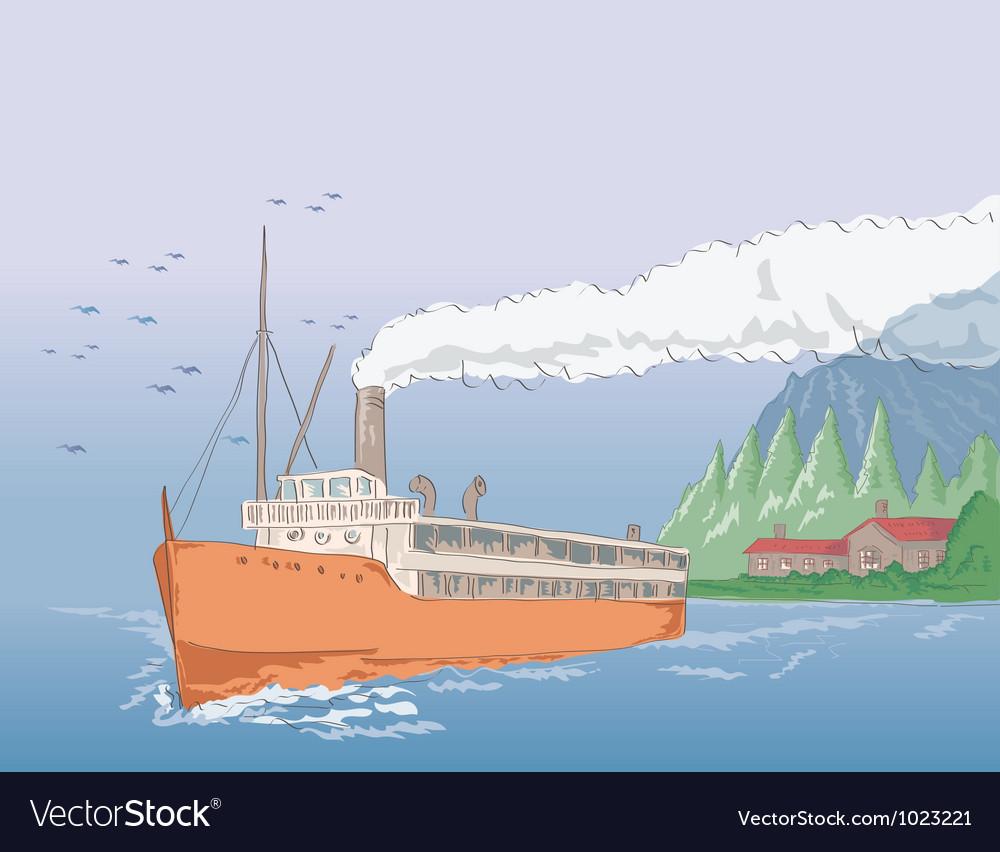 Steamship Steamboat Vintage