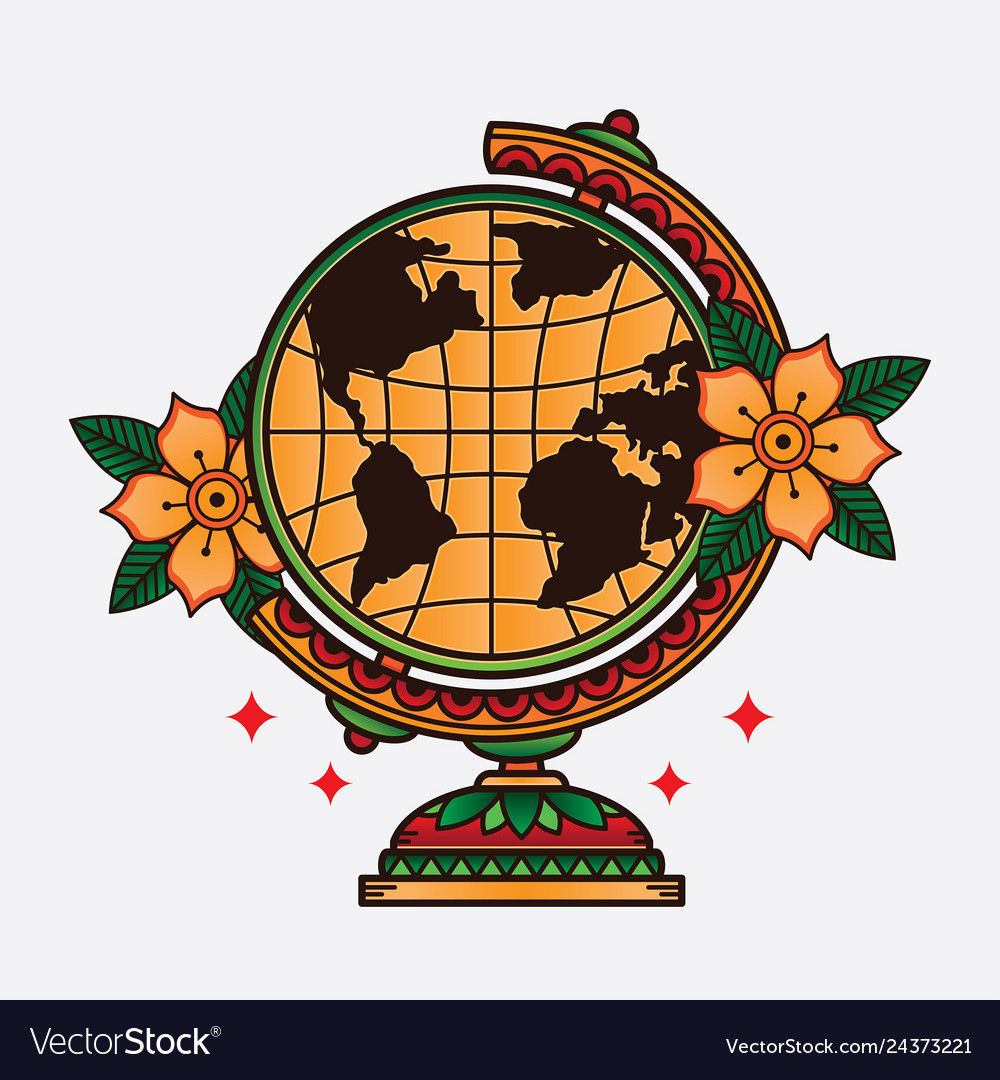 Traditional Flash Globe Tattoo Royalty Free Vector Image