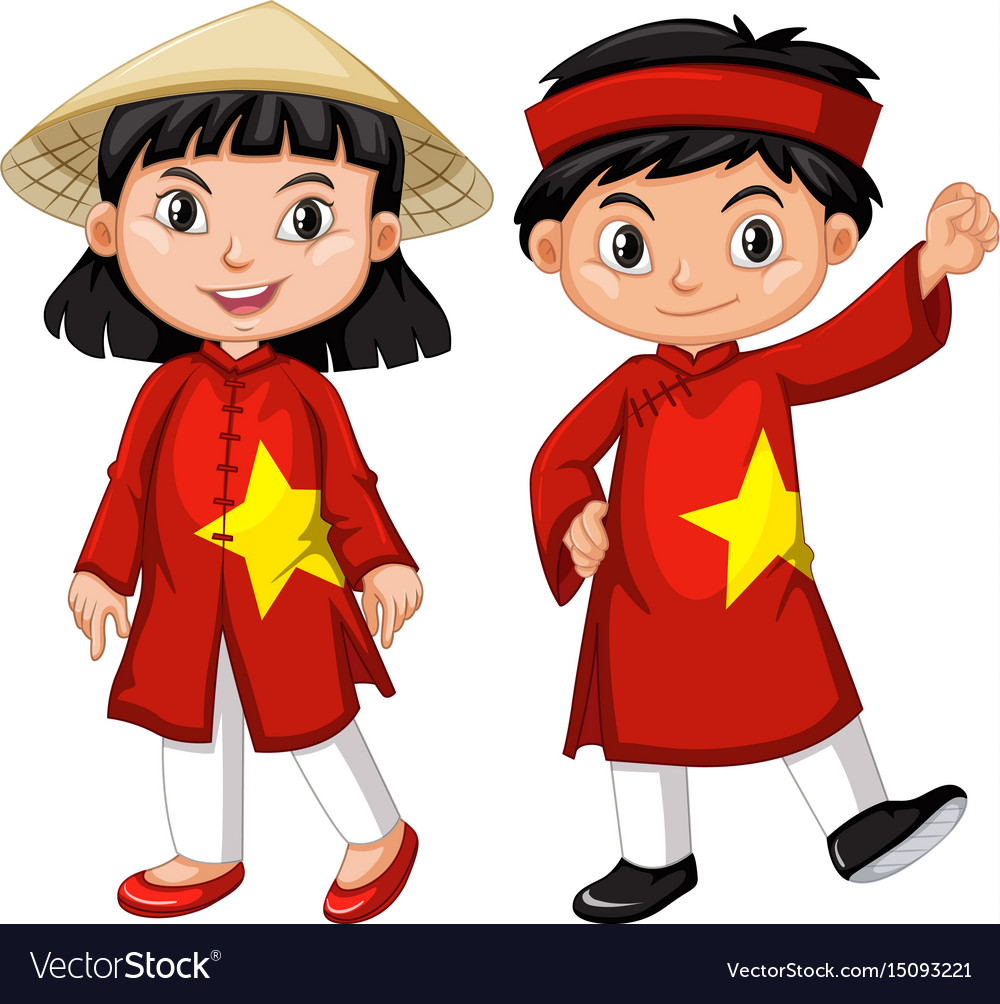 Vietnamese boy and girl in red costume vector image