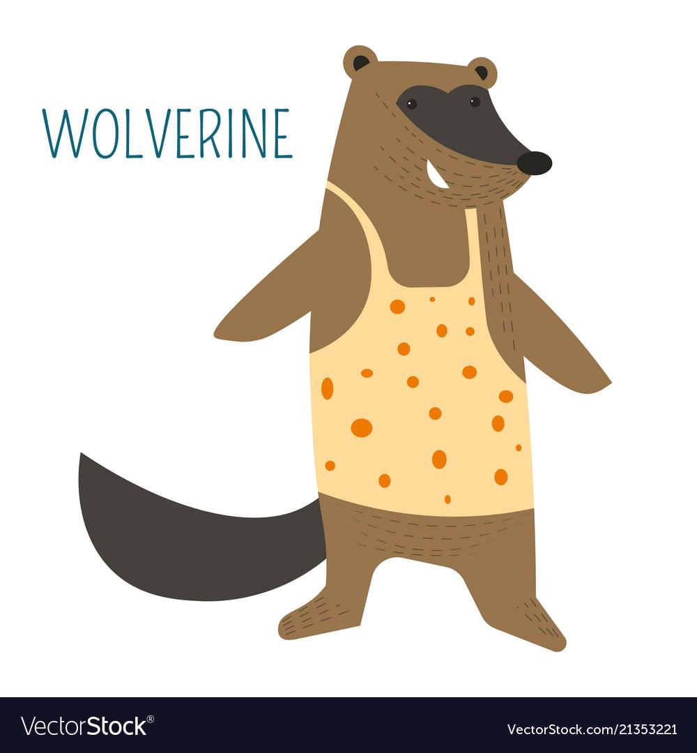 Wolverine in shirt cartoon childish book character