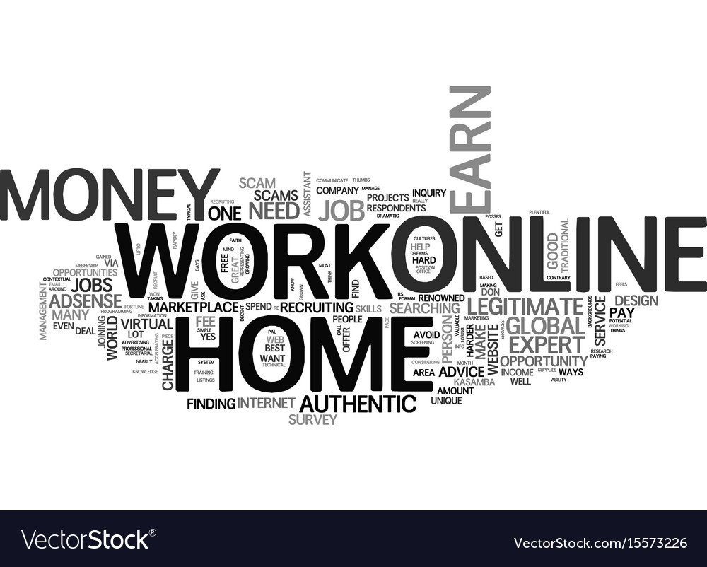 Authentic info work online from home to earn Vector Image