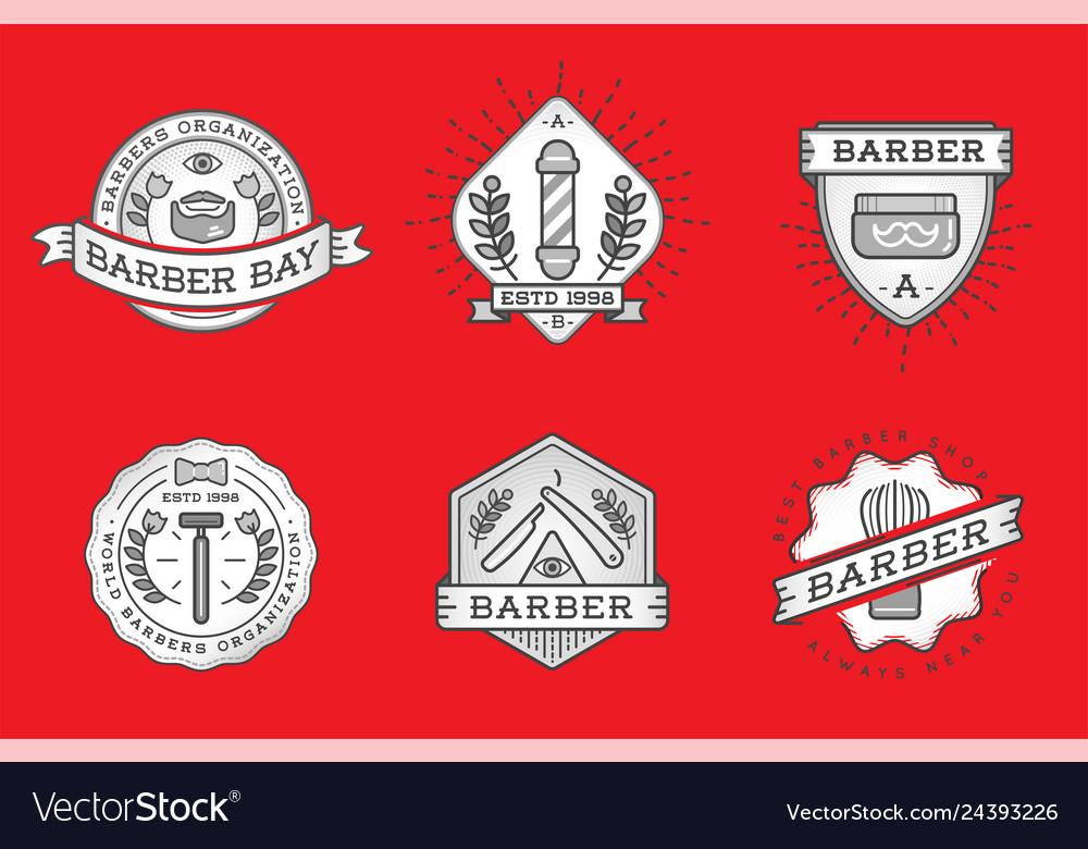 Barber shop logo design vintage label badge