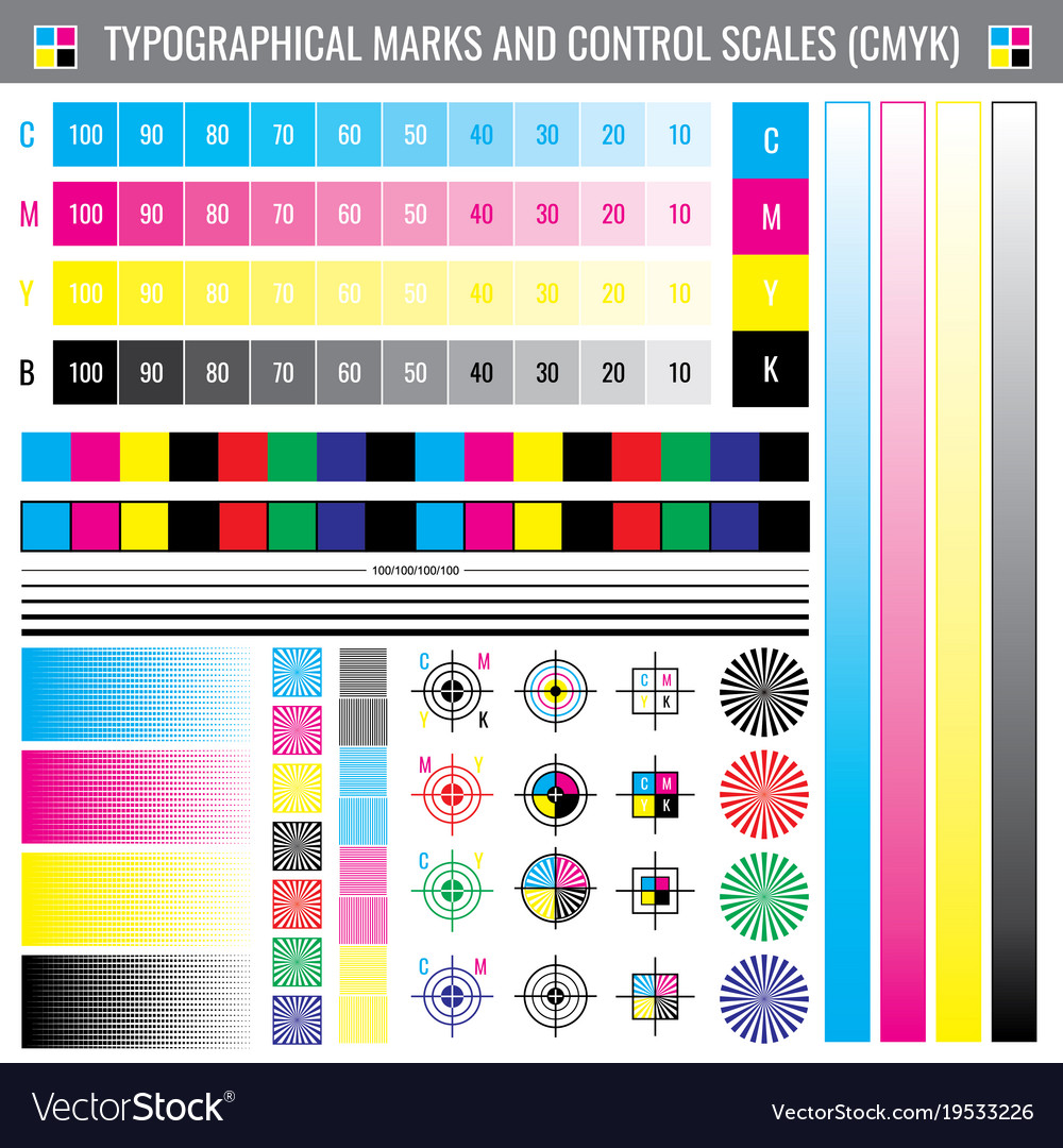 calibration printing crop marks cmyk color test vector image - Printing Color