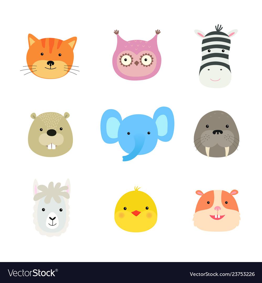 Cartoon cute animals for bacard and invitation
