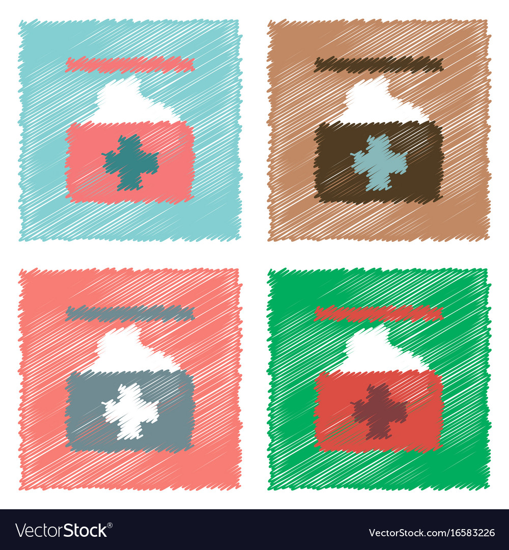 Collection of flat shading style icons medical vector image