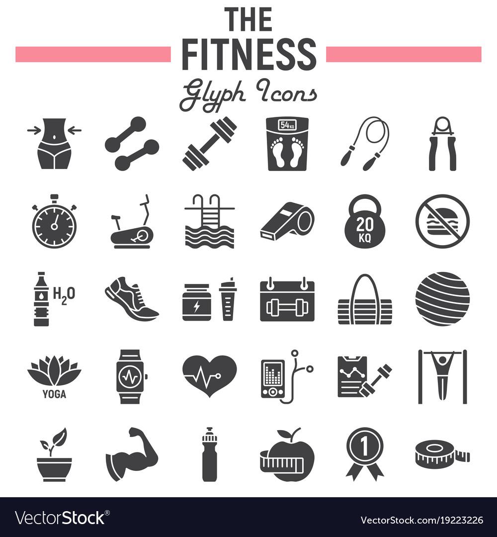 Fitness glyph icon set sport symbols collection
