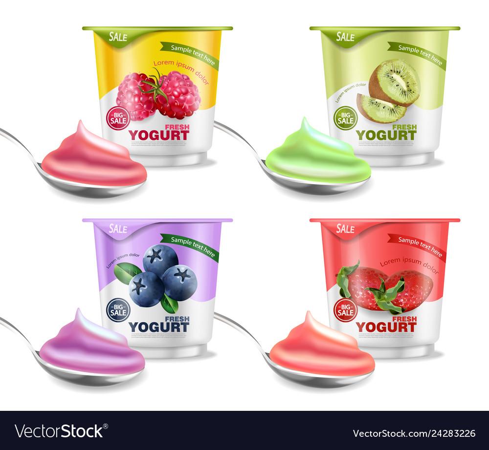 Fruits yogurt set realistic berry