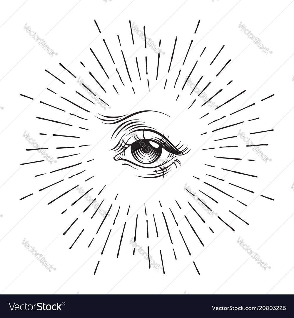 Hand-drawn eye of providence masonic symbol