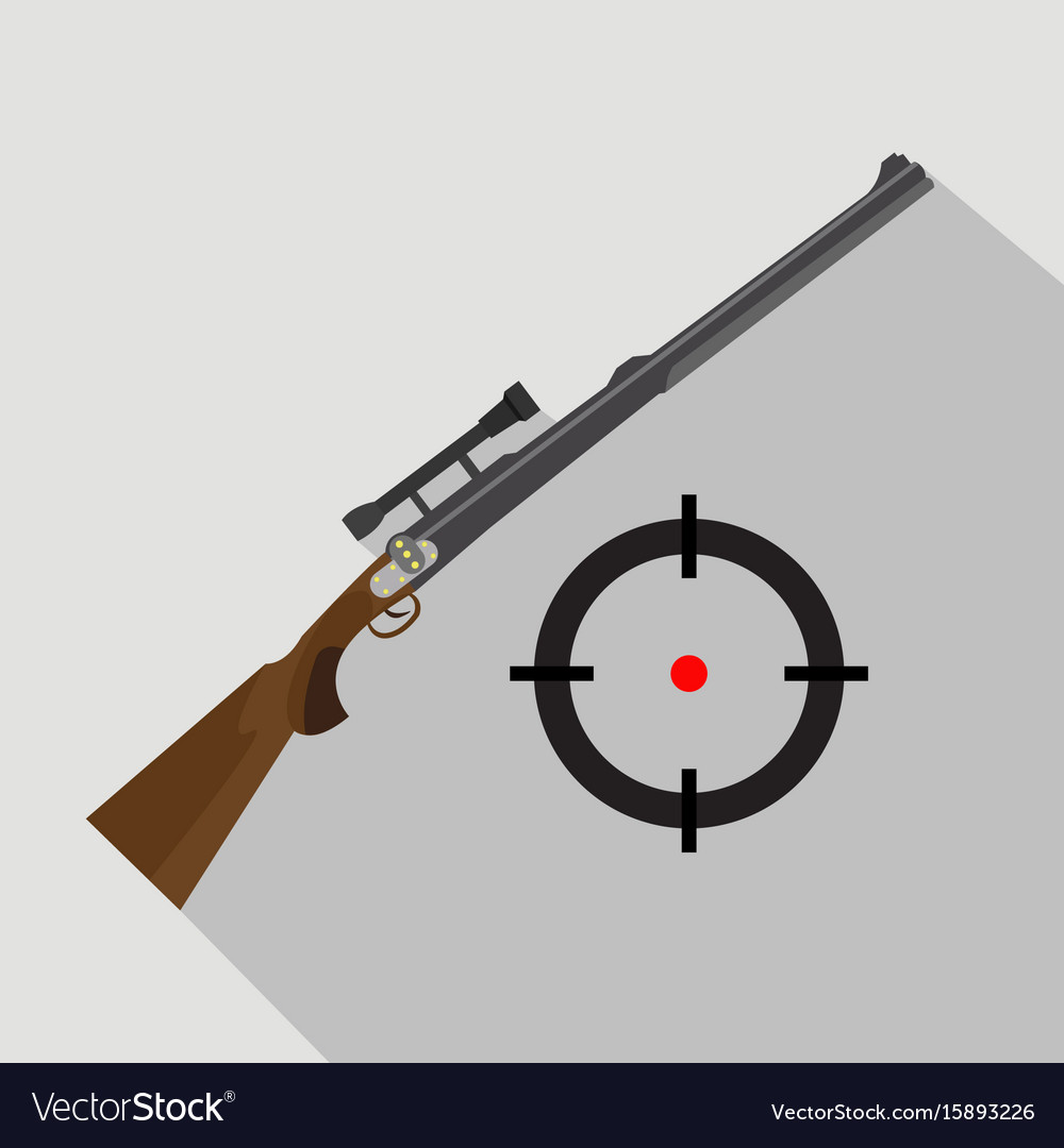 Sniper scope rifle isolated flat and cartoon