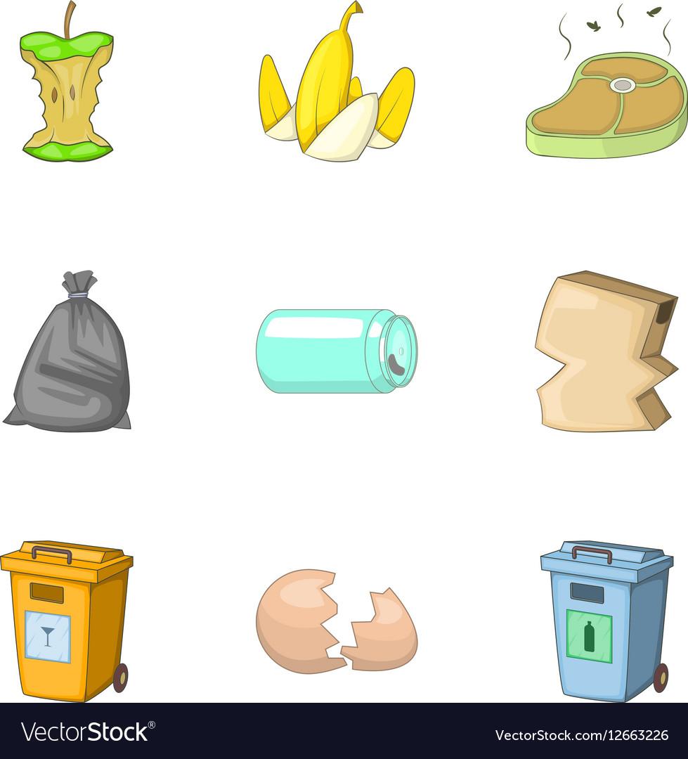 Waste icons set cartoon style vector image