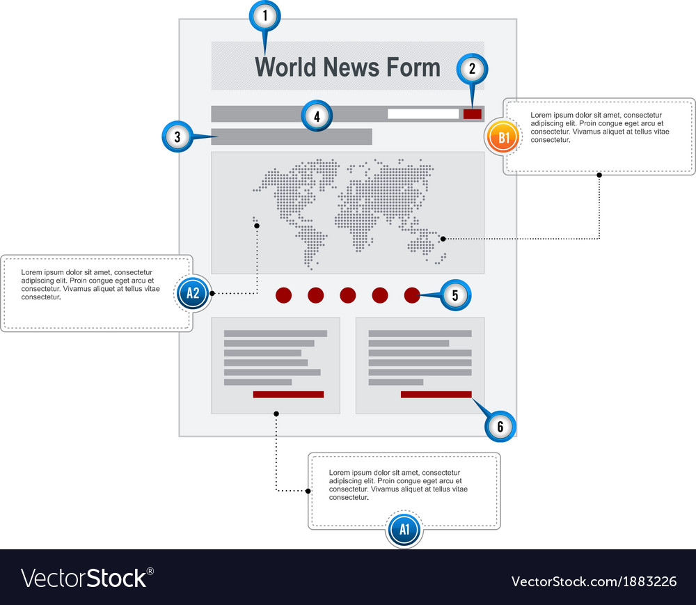 World News Web Page Wireframe Structure Prototype