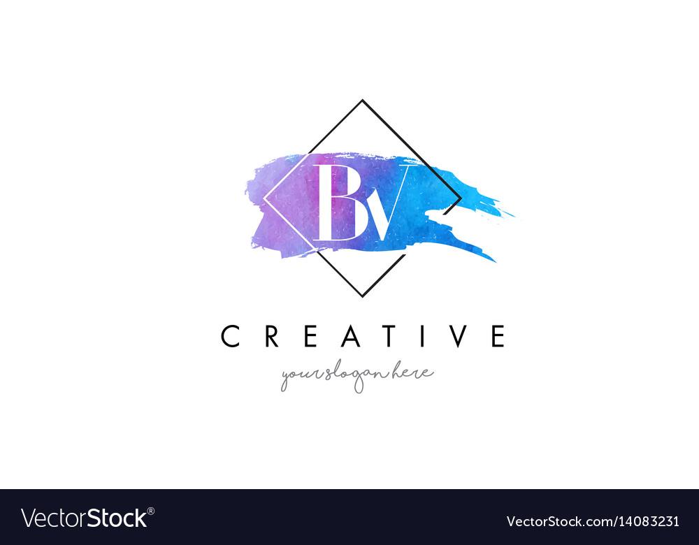 Bv artistic watercolor letter brush logo