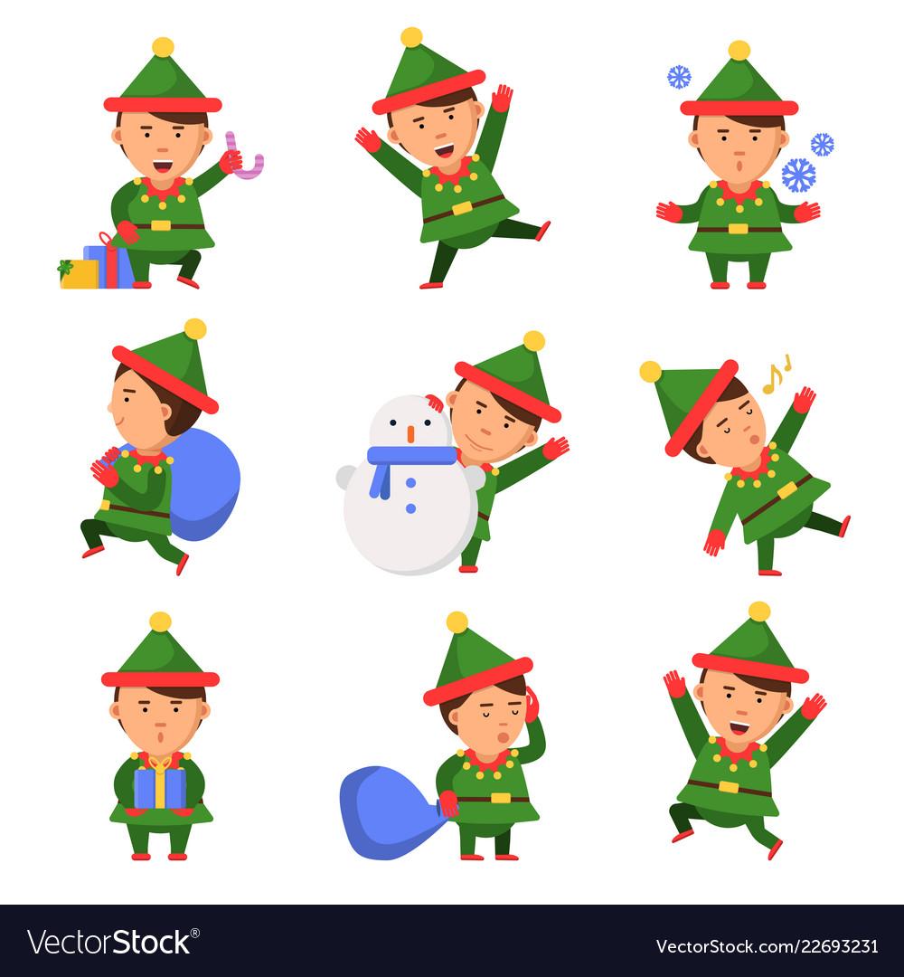 Christmas elf santa helpers dwarfs in action pose