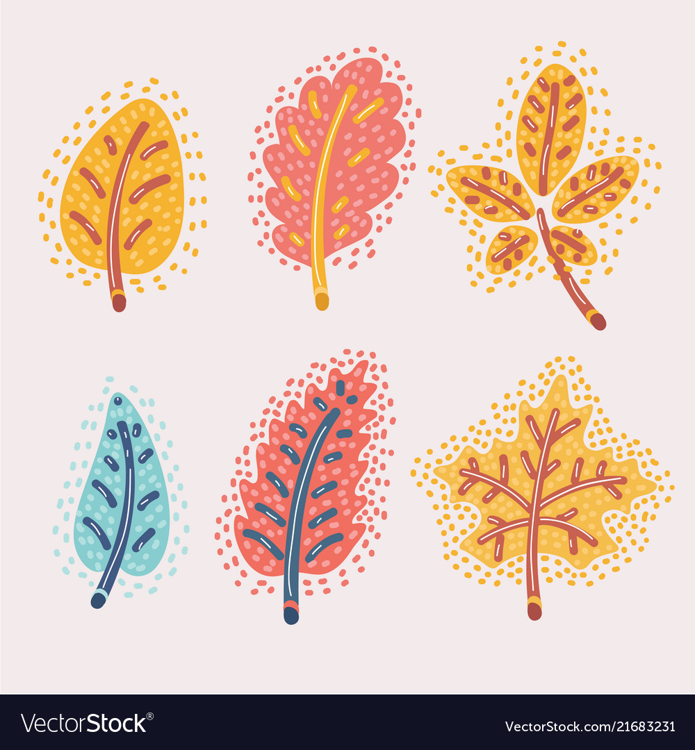 Fallen autumn leaves set