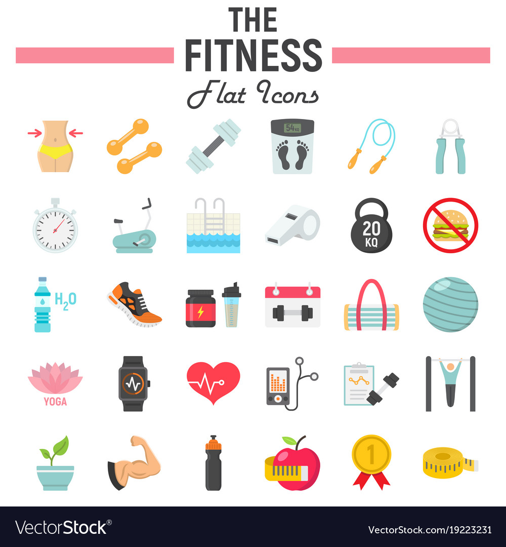 fitness flat icon set sport symbols collection vector image