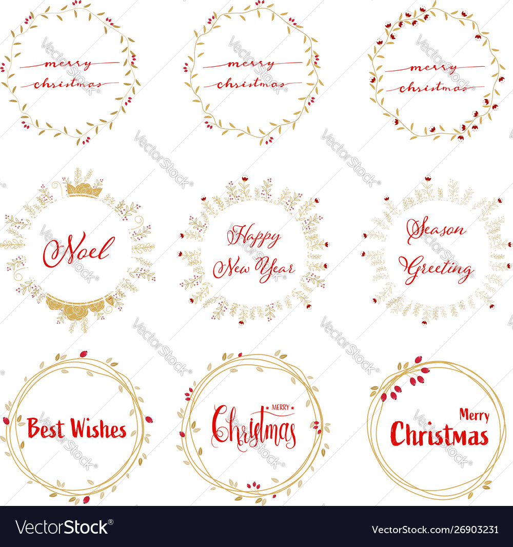 Golden christmas wreath with red calligraphy