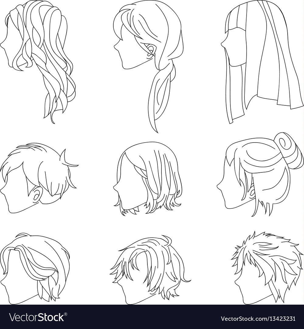 Hairstyle Side View Man And Woman Line Royalty Free Vector