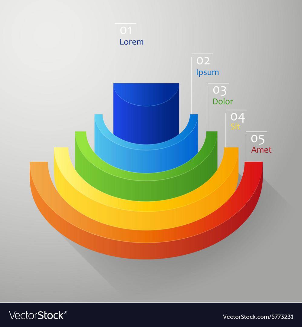 Half - circle colorful 3D diagram