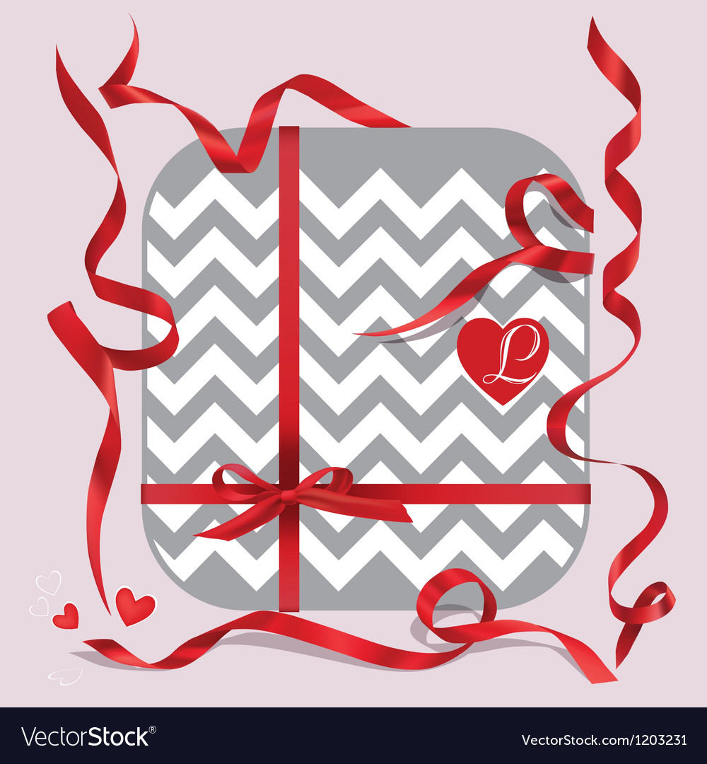 Red ribbons of set gift