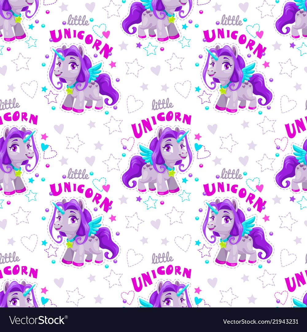 Seamless pattern with cute cartoon purple unicorn