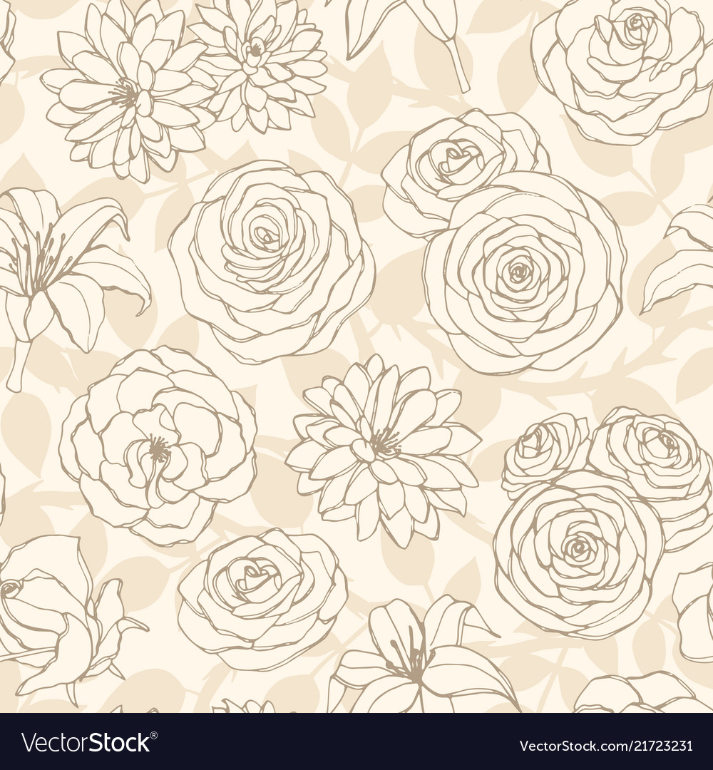 Seamless pattern with lily roses and leaves