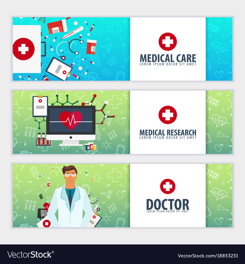 Set of medical banners health care