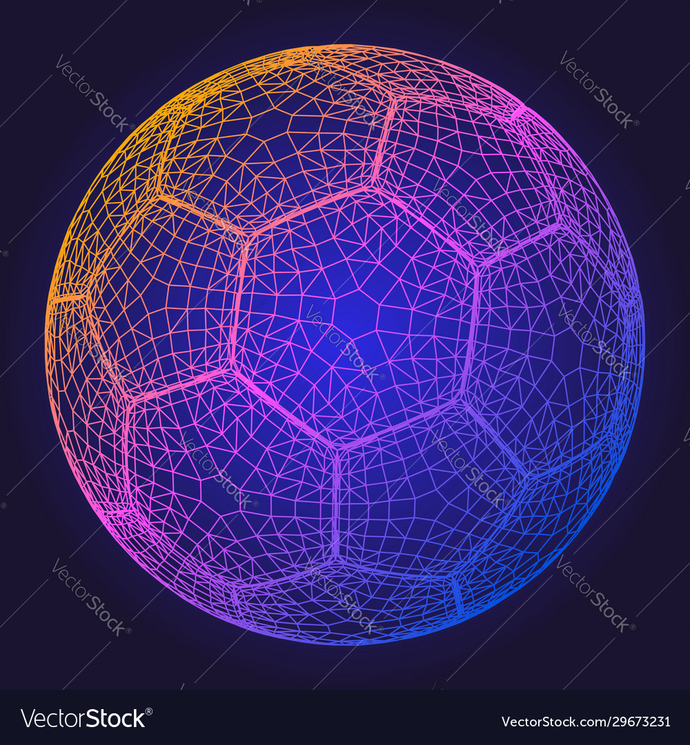 Soccer ball colorful wireframe grid