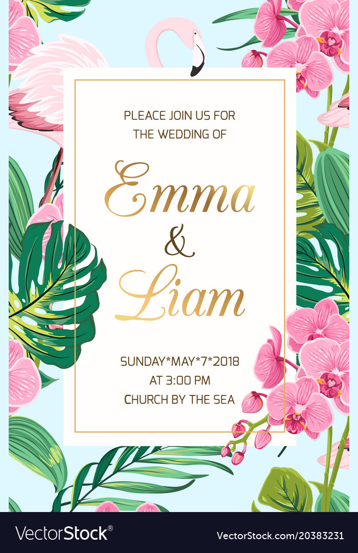 Wedding invitation tropical leaves orchid flamingo