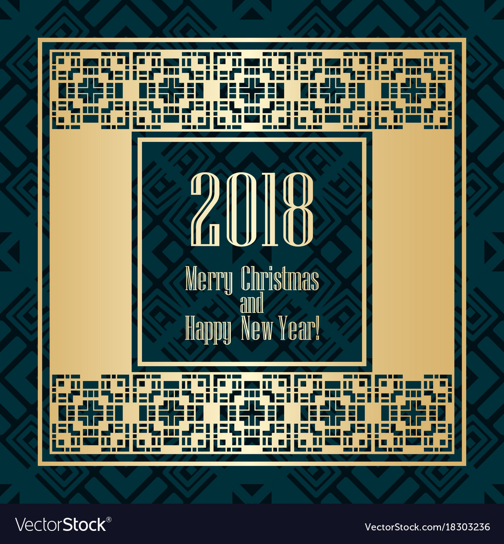 2018 new year greeting card in art deco golden