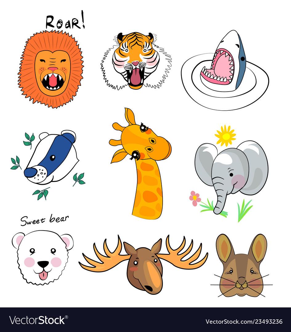 Animal set print hand drawing