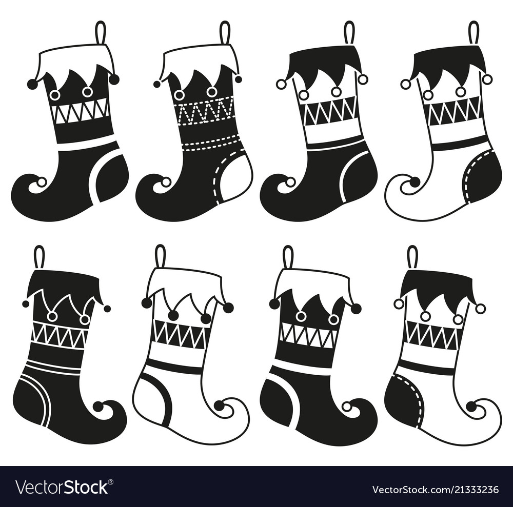 Black And White 8 Christmas Stocking Silhouette Vector Image