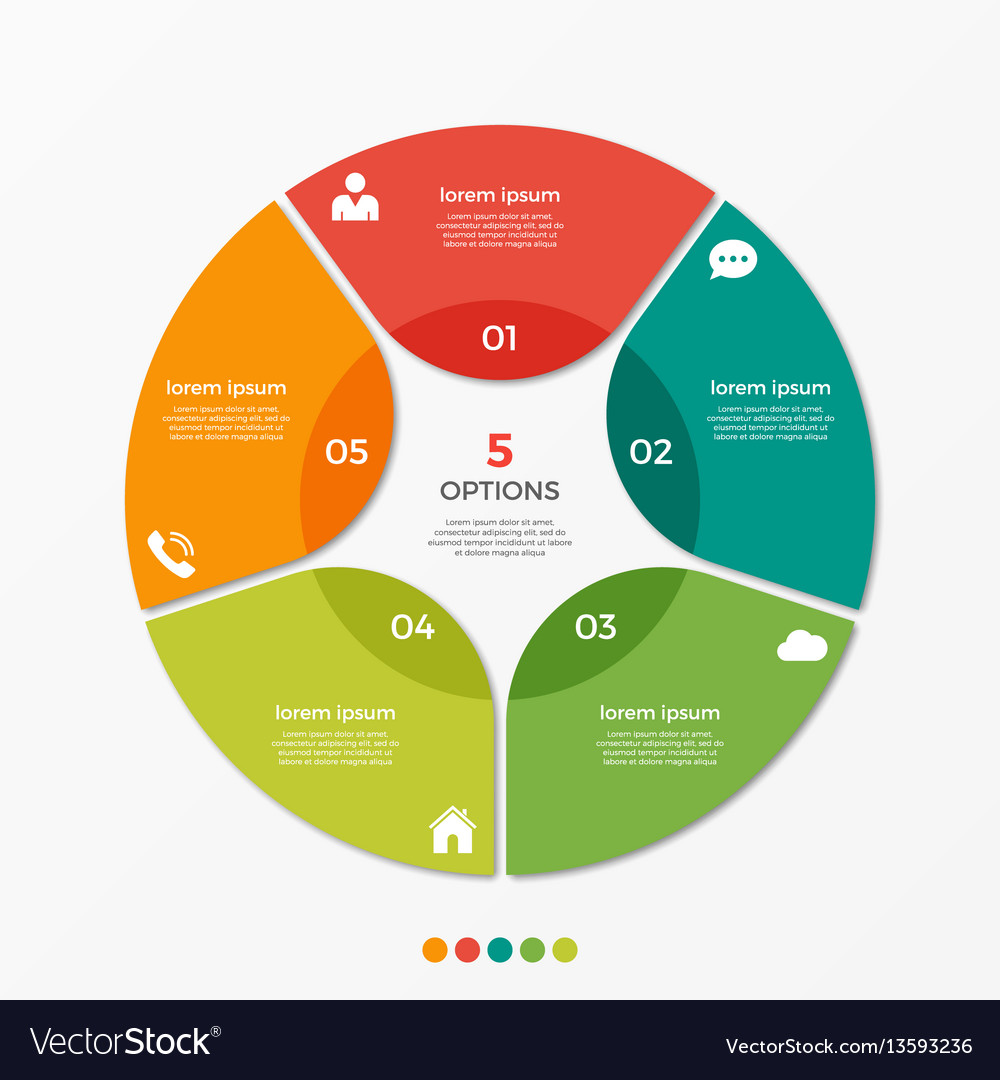 Circle chart infographic template with 5 options