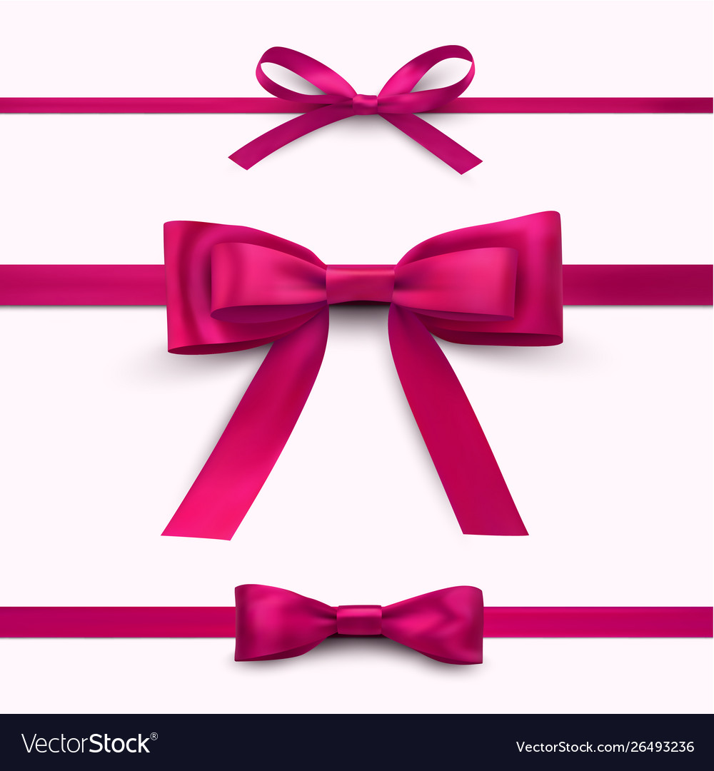 Decorative red bright bows with horizontal ribbon