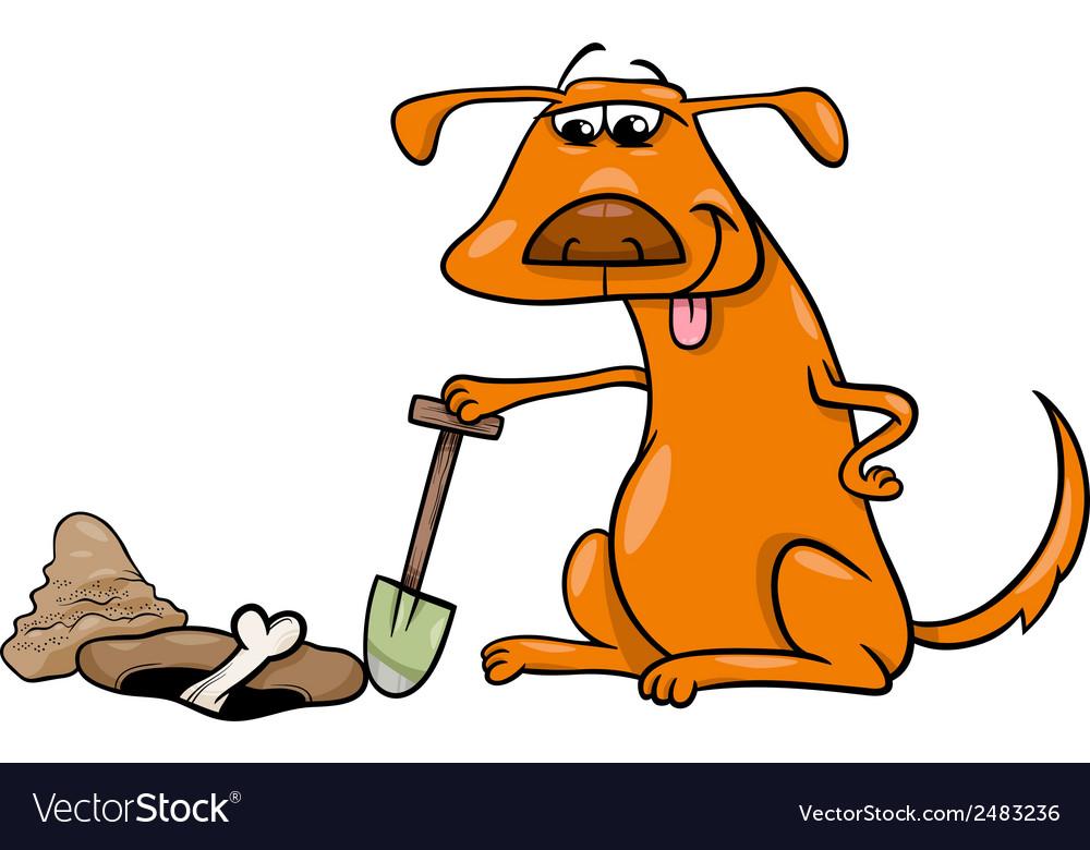 Dog with bone cartoon vector image