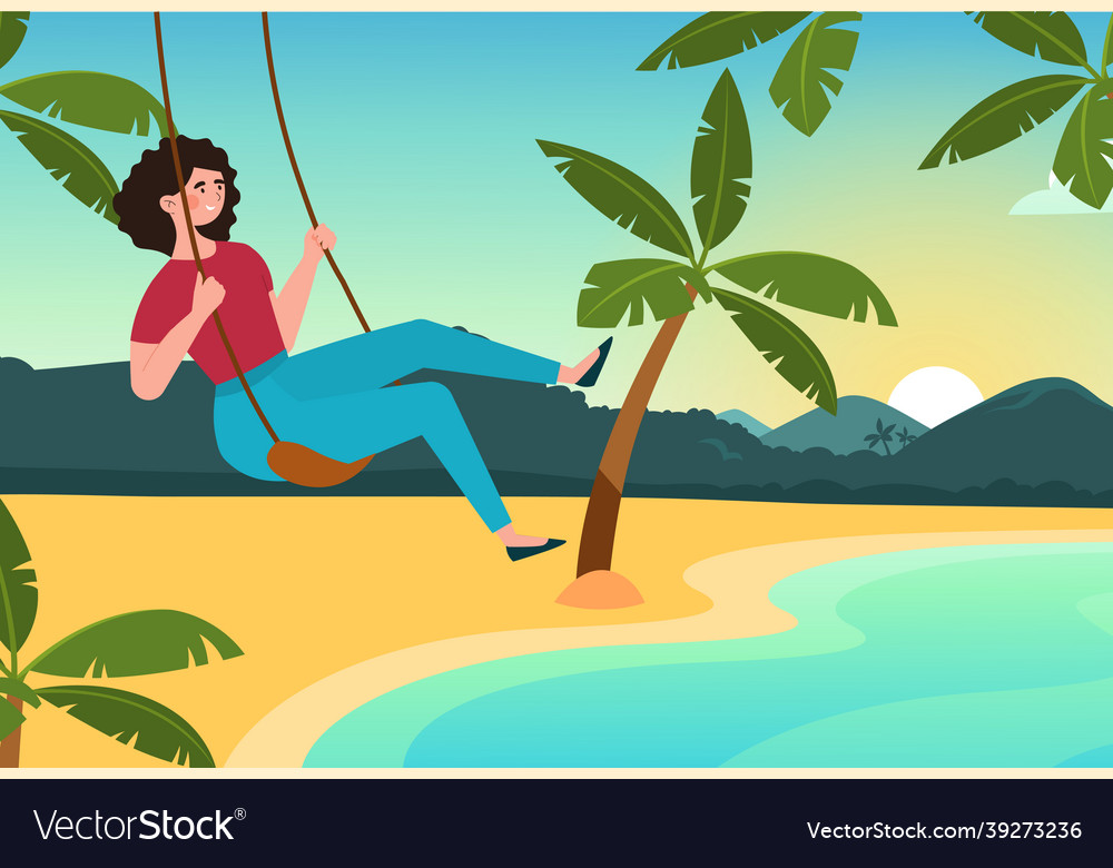 Girl swinging on swing on beach