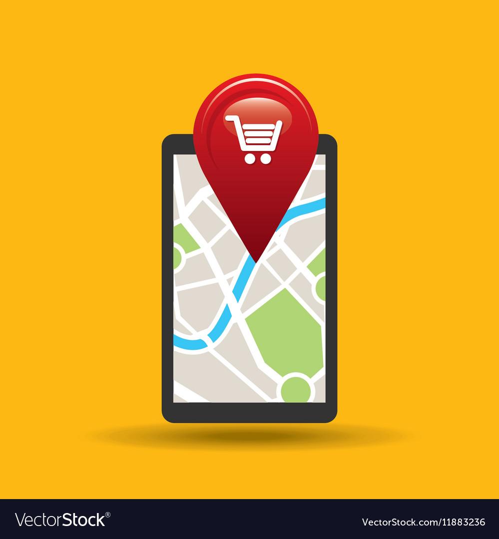 Hand holds phone navigation app market