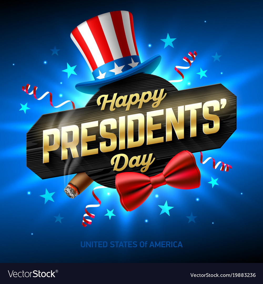 Happy presidents day greeting card design with vector image