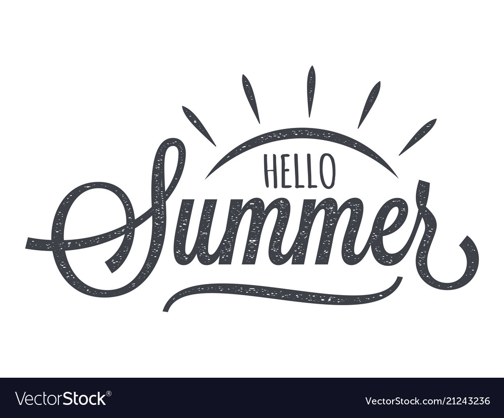 Hello summer vintage lettering on white background