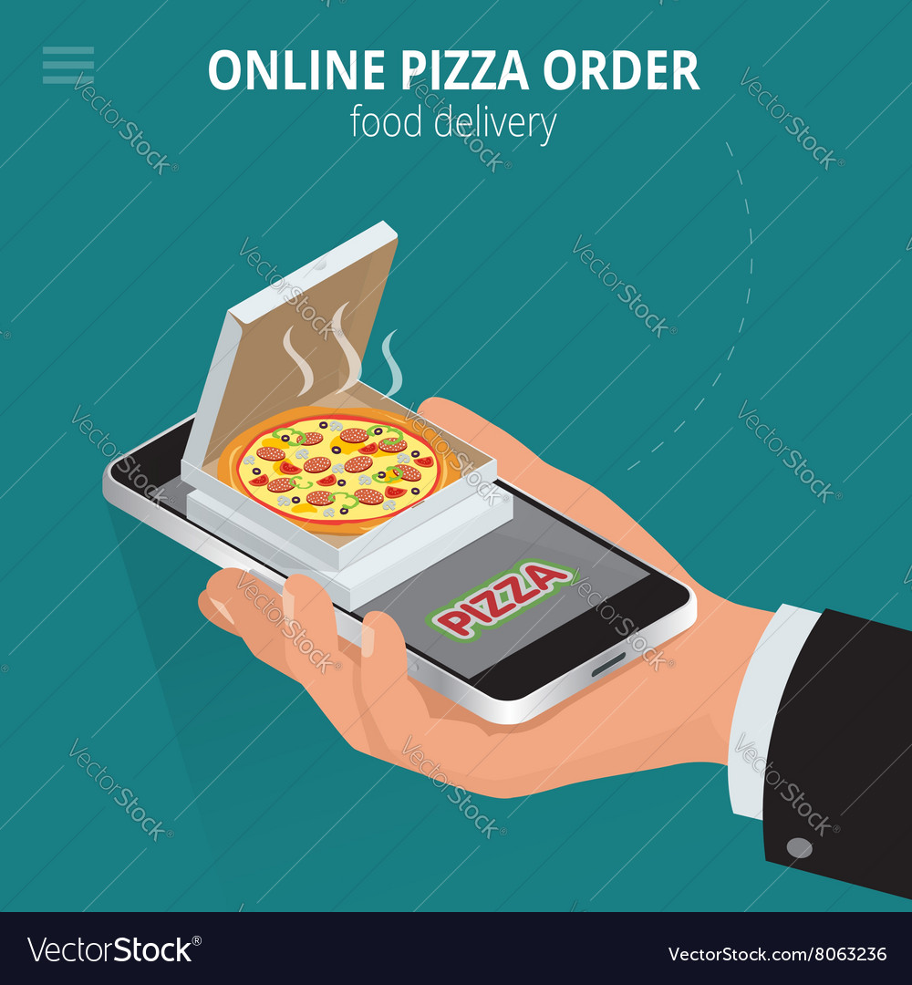Online Pizza Ecommerce Concept Order Food Vector Image