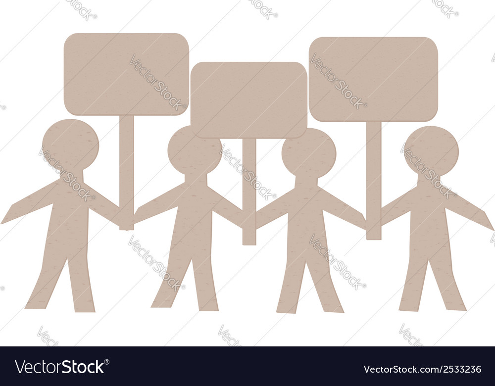 Paper Human with Banners2 vector image