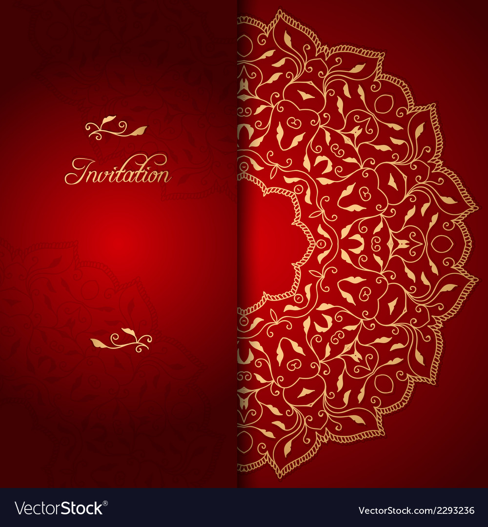 Red lace background with floral ornament